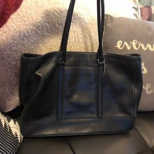 Black Leather Coach Three Sectional Laptop Tote.